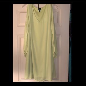 Neon yellow/green dress cold shoulder